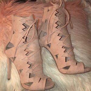 Pink Suede High Heel Peep Toe Bootie